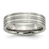Chisel Grooved Brushed and Polished Titanium Ring (6.0 mm)