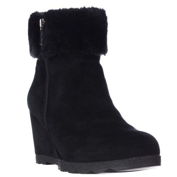 A35 Oreena Wedge Winter Ankle Booties, Black