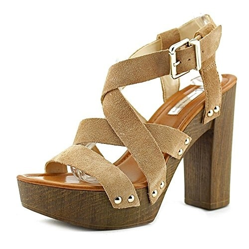 INC International Concepts Womens Camira Leather Open Toe Ankle Strap Platfor...