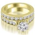 3.44 cttw. 14K Yellow Gold Cathedral Round Cut Diamond Bridal Set - Thumbnail 0