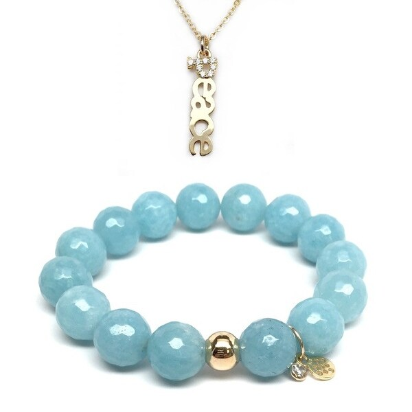 """Light Blue Quartz 7"""" Bracelet & CZ Peace Gold Charm Necklace Set"""