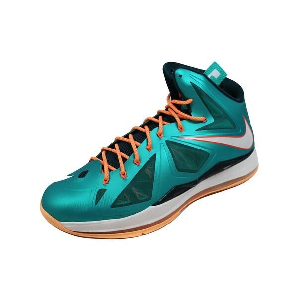 Nike Men's Lebron X 10 Atomic Teal/Sail-Dark Atomic Teal-Total Orange Dolphins 541100-302
