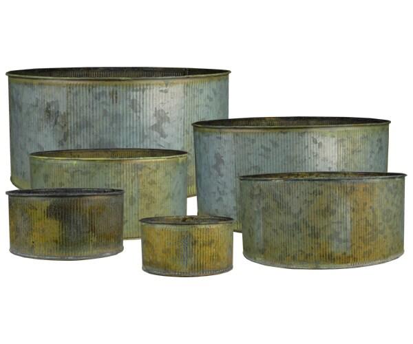 CYS® Corrugated Zinc Metal Galvanized Plant Pot Cylinder