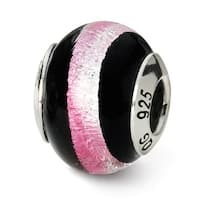 Italian Sterling Silver Reflections Pink/Black Bead (4mm Diameter Hole)