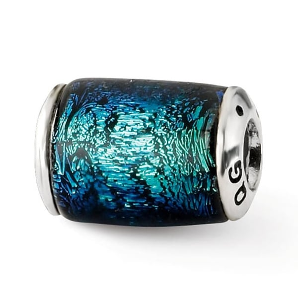 Sterling Silver Reflections Blue Dichroic Glass Barrel Bead (4mm Diameter Hole)