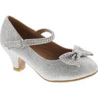 Link Justice-05K Girls Peagent Ball Party Wedding Medium Height Dress Heels - Silver