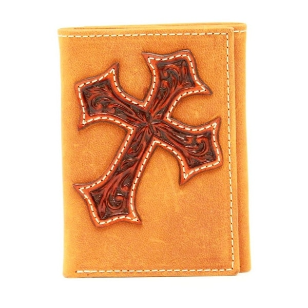 Nocona Western Wallet Mens Trifold Cross Overlay Aged Bark - One size