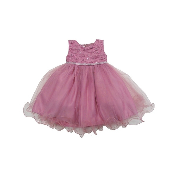 Baby Girls Dusty Rose Glitter Floral Accent Organza Flower Girl Dress
