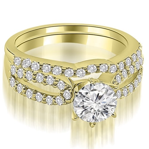 1.14 cttw. 14K Yellow Gold Exquisite Split Shank Round Diamond Bridal Set HI, SI1-2