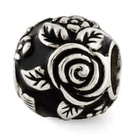 Sterling Silver Reflections Black Enameled Floral Theme Bali Bead (4mm Diameter Hole)
