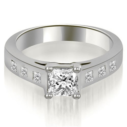 1.25 cttw. 14K White Gold Princess Cut Bezel Engagement Diamond Ring