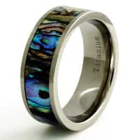 Titanium Fluorescent Abalone Shell Inlay Ring