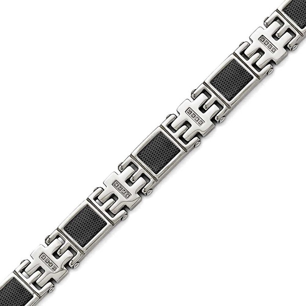 Chisel Stainless Steel Polished Black IP-plated 1/3ct tw. Diamond Bracelet