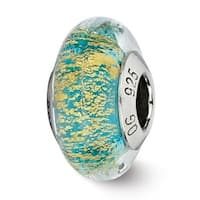 Italian Sterling Silver Reflections Teal/Gold Glass Bead (4mm Diameter Hole)