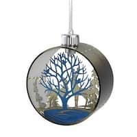 "5"" Winter's Beauty Pre-Lit Silhouette Glass Christmas Ornament – Warm White Lights"