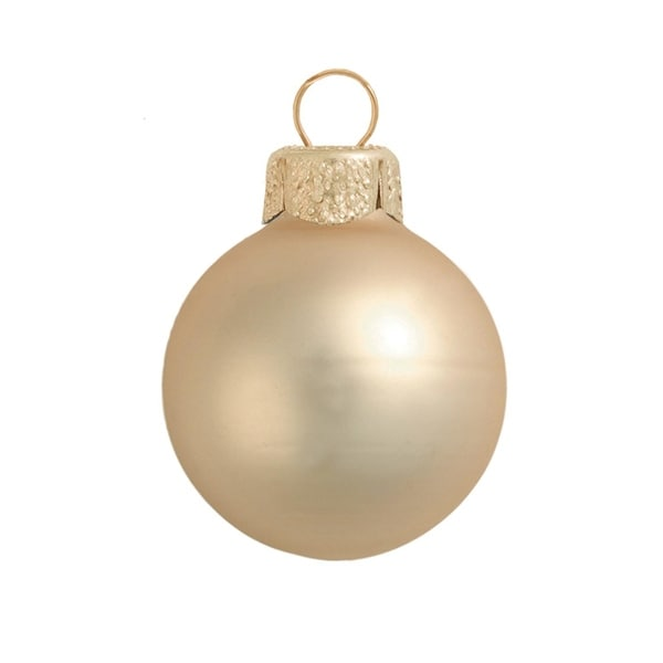 """40ct Matte Champagne Gold Glass Ball Christmas Ornaments 1.5"""" (40mm)"""