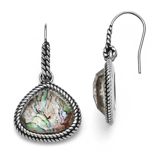 Chisel Stainless Steel Polished/Antiqued Synthetic Abalone Earrings