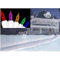 Set of 300 Multi-Color Everglow Icicle Christmas Lights - White Wire
