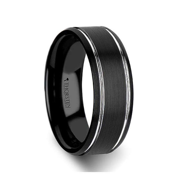 THORSTEN - NOCTURNE Beveled Black Tungsten Carbide Band with Brushed Finish and Polished Grooves
