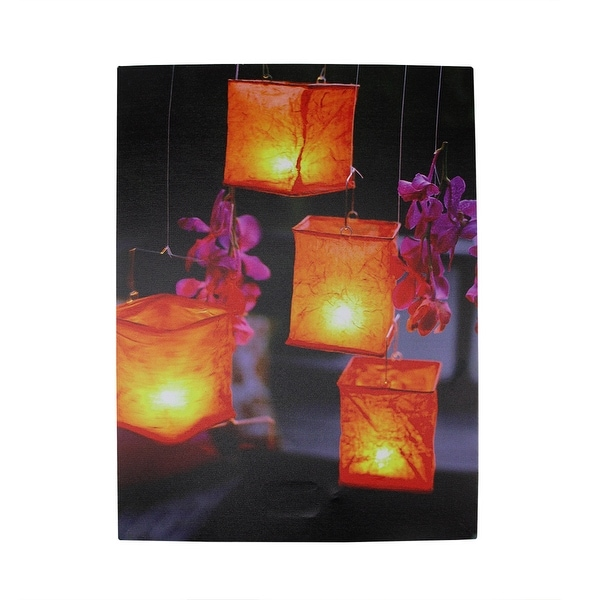 """LED Lighted Flickering Garden Lantern Candles with Pink Orchids Canvas Wall Art 15.75"""" x 11.75"""""""