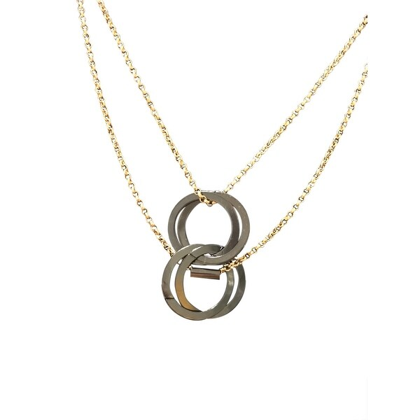 max & MO Interlinked Disc 2-Row Gold Necklace