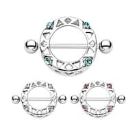 """Surgical Steel Nipple Ring Round Shield with Gem - 14GA 3/4"""" Long (Sold Individually)"""