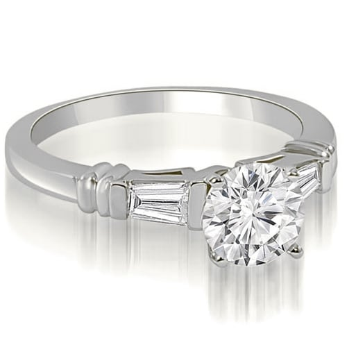 1.00 cttw. 14K White Gold Round Baguette Three Stone Diamond Engagement Ring