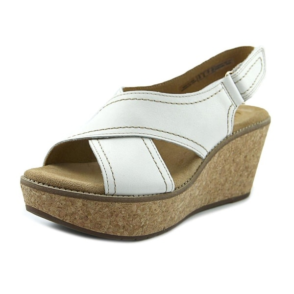 Clarks Artisan Aisley Tulip Women W Open Toe Leather White Wedge Sandal
