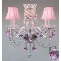 Swarovski elements Crystal Trimmed Chandelier Lighting With Crystal Pink Shades