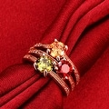 Rose Gold Tri-Colored Jewels Ring - Thumbnail 3