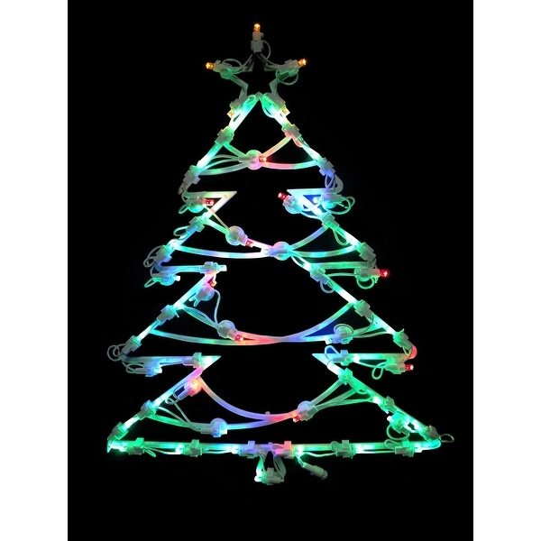 "18"" LED Lighted Tree Double Sided Christmas Window Silhouette Decoration"