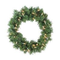 """18"""" Pre-Lit Deluxe Windsor Pine Artificial Christmas Wreath - Clear Lights"""