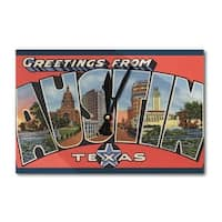 Austin, Texas Large Letter Scenes Vintage Halftone (Acrylic Wall Clock) - acrylic wall clock