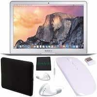 """Apple 13.3"""" MacBook Air Laptop Computer 256GB + White Wired Earbuds Headphones + Padded Case + Optical Wireless Mouse Bundle"""