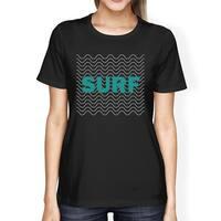 Surf Waves Womens Black Graphic Short Sleeve Tshirt Cool Summer Top