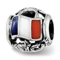 Sterling Silver Reflections Enameled French Theme Bead (4.5mm Diameter Hole)