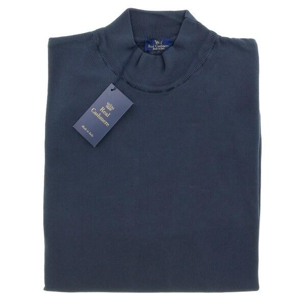 Real Cashmere Mock Neck Big Mens Navy Blue Sweater