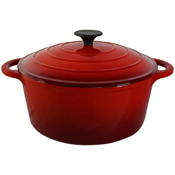 Sunnydaze Red Enamel Cast Iron Pot Pre Seasoned 9 Inch 5 Quart