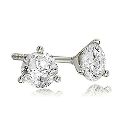 2.00 cttw. 14K White Gold Round Cut Diamond Martini 3-Prong Stud Earrings - White H-I