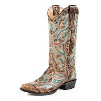 Stetson Western Boots Womens Distressed Brown