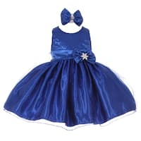 Baby Girls Royal Blue Sequined Top Glitter Bow Headband Flower Girl Dress