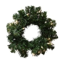 """10"""" Pre-Lit Deluxe Windsor Pine Artificial Christmas Wreath - Clear Lights"""