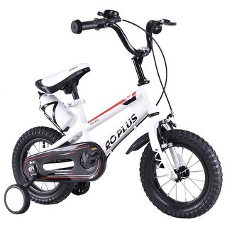 Goplus 20'' Freestyle Kids Bike Bicycle Children Boys & Girls w Training Wheels White