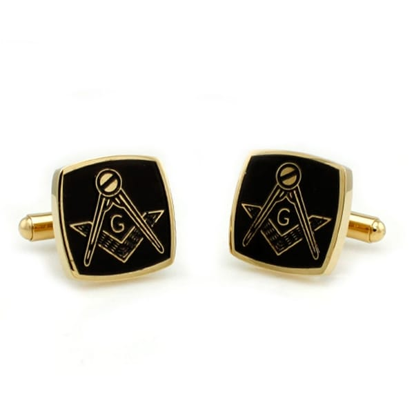 Two-Tone Stainless Steel Masonic Men's Cuff Links
