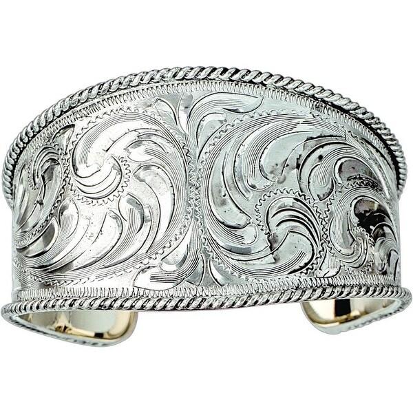 "Bar V Western Women Bracelet Engraved Wide Cuff 1 1/4"" Silver 314-022"