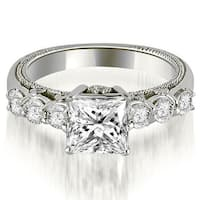 1.25 ct.tw 14K White Gold Princess and Round Cut Diamond Vintage Engagement Ring HI, SI1-2