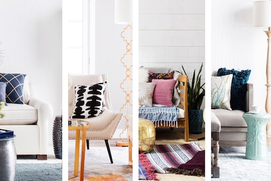 Four living rooms with four types of decor: Costal, Glam, Boho Chic, Shabby Chic.
